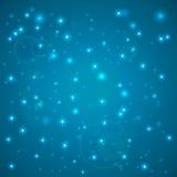 Blauwe Abstracte Achtergrond Nachthemel met sterren Vector illustratie Dalende sneeuw Het abstracte wit schittert sneeuwvlokachte vector illustratie