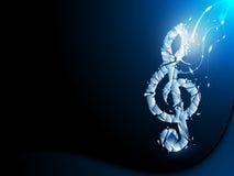 Blauwe Abstracte Achtergrond Verbrijzelde Muzieknoot stock illustratie