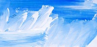 Blauwe Abstracte Art Painting-achtergrond Schilderende Blauwe Overzees vector illustratie