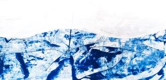 Blauwe Abstracte Art Painting-achtergrond Schilderende Blauwe Overzees stock illustratie