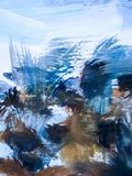 Blauwe Abstracte Art Painting-achtergrond Schilderende Blauwe Overzees royalty-vrije illustratie
