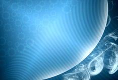 Blauwe abstracte cyberspace technologieachtergrond met bol stock afbeelding