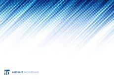 Blauwe abstracte diagonale lijnentechnologie als achtergrond met halftone royalty-vrije illustratie