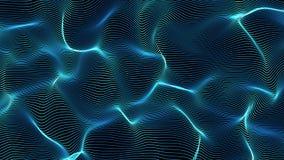Blauwe abstracte golven op zwarte die achtergrond - vorm van lijnen wordt gemaakt Stock Foto's