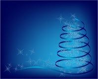 Blauwe abstracte Kerstmisboom Stock Afbeelding