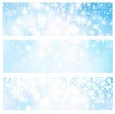 Blauwe abstracte lichtenbanners Stock Fotografie