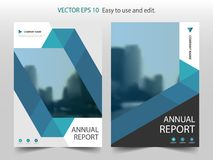 Blauwe abstracte van het het jaarverslagontwerp van de driehoeksbrochure het malplaatjevector Affiche van het bedrijfsvliegers de vector illustratie