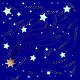 Blauwe achtergrond en heldere kleurrijke sterren en Starfall Royalty-vrije Stock Foto