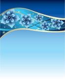 Blauwe achtergrond met blauwe en gouden bloemen Royalty-vrije Stock Afbeeldingen