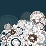 Blauwe achtergrond met bloemen Royalty-vrije Stock Fotografie