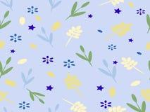 Blauwe achtergrond met bloemen en bladeren en sterren Stock Afbeeldingen