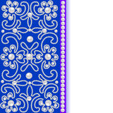 Blauwe achtergrond met bloemen van parels en plaats voor tekst Stock Afbeelding