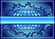 Blauwe achtergrond met bol vector illustratie