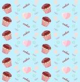 Blauwe achtergrond met cakes Stock Afbeeldingen