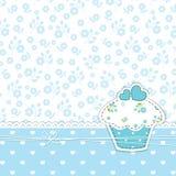 Blauwe achtergrond met cupcake Royalty-vrije Stock Fotografie