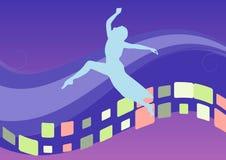 Blauwe achtergrond met dansend meisje. vector illustratie