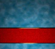 Blauwe achtergrond met de donkerrode strook van het textuurlint Royalty-vrije Stock Afbeeldingen