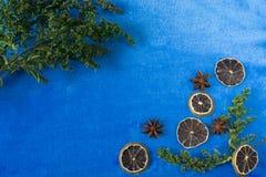 Blauwe achtergrond met decor Copyspace Stock Fotografie