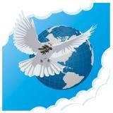 Blauwe achtergrond met duif en bol Royalty-vrije Stock Fotografie