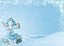 Blauwe achtergrond met engel Stock Foto's