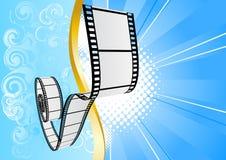 Blauwe achtergrond met film Royalty-vrije Stock Afbeelding