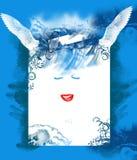 Blauwe achtergrond met glimlach en vleugels van fee Royalty-vrije Stock Fotografie