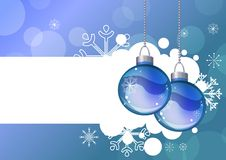Blauwe achtergrond met het hangen van ballen Stock Afbeelding