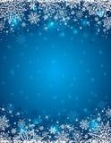 Blauwe achtergrond met kader van sneeuwvlokken en sterren, vector stock illustratie