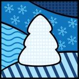 Blauwe achtergrond met Kerstboom Royalty-vrije Stock Foto