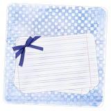 Blauwe achtergrond met notadocument en boog Stock Afbeeldingen