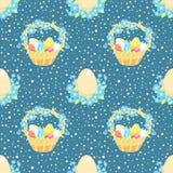 Blauwe achtergrond met Pasen-mand Stock Afbeeldingen