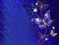 Blauwe achtergrond met saffiervlinder Royalty-vrije Stock Afbeeldingen