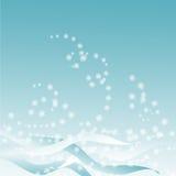 Blauwe achtergrond met sneeuwstorm royalty-vrije illustratie
