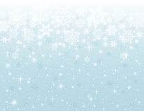 Blauwe achtergrond met sneeuwvlokken, vector Stock Foto
