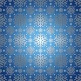 Blauwe achtergrond met sneeuwvlokpatroon. Stock Foto