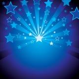 Blauwe achtergrond met sterren Stock Foto