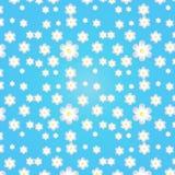 Blauwe achtergrond met witte en donkerblauwe bloemen Royalty-vrije Stock Afbeelding
