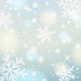 Blauwe achtergrond met witte vage sneeuwvlokken, vector royalty-vrije illustratie