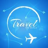 Blauwe achtergrond met witte vliegtuigen Stock Afbeelding