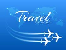 Blauwe achtergrond met witte vliegtuigen Royalty-vrije Stock Foto's