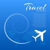 Blauwe achtergrond met witte vliegtuigen Royalty-vrije Stock Foto