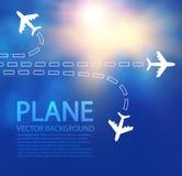 Blauwe achtergrond met witte vliegtuigen Stock Foto