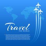 Blauwe achtergrond met witte vliegtuigen Stock Foto's