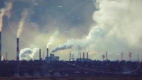 Blauwe achtergrond Milieukwesties voorraad Schadelijke emissies industriële schoorsteen, emissies aan het milieu slecht vector illustratie
