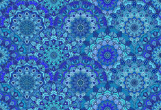 Blauwe Achtergrond Overzeese Golven Mandala Flowers Royalty-vrije Stock Foto
