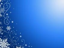 Blauwe achtergrond, in patronen en sneeuwvlokken stock illustratie
