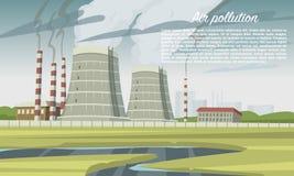 Blauwe achtergrond Smogschoorsteen, kolenindustriefabriek, kerncentrales Emissies van giftig gevaarlijk radioactief afval stock illustratie