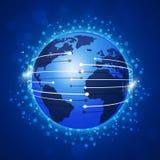 Blauwe Achtergrond van concepten de Globale Verbindingen Royalty-vrije Stock Fotografie