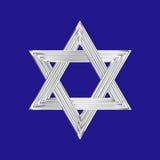Blauwe achtergrond van het jodenster de zilveren teken Royalty-vrije Stock Afbeelding