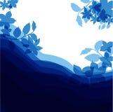 Blauwe achtergrond voor gelukwens met bloemen, gelukkige verjaardag Stock Afbeeldingen